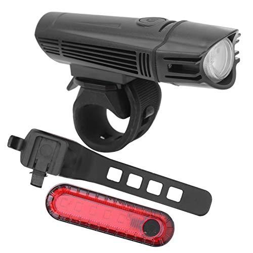 DSJSP USB recargable bicicleta faro bicicleta luz delantera Ciclismo fuerte brillo montaña bicicleta cola lámpara