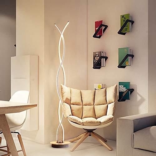 TWY Lámpara De Pie De Esquina, Lámpara De Pie Curva LED Curva En Blanco Y Negro Lámpara De Poste De Interior Contemporánea Regulable para Dormitorios, Oficinas,White Light
