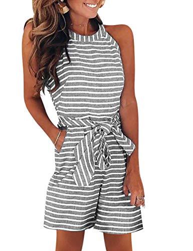 FeelinGirl Damen Ärmellos Jumpsuit Striped Waist Breites Bein Overalls mit Gürtel Sommer Casual Hohe Taille Rompers S Schwarz