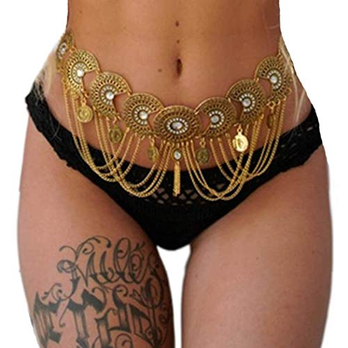 Victray Coin Waist Chain Beach Belly Body Chains Fashion Waist Jewelry Nightclub Body Accessory for Women and Girls (Gold)