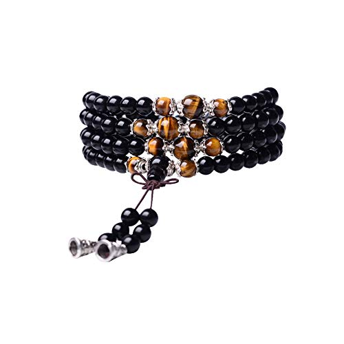 Tiger Eye Crystal Gemstone Bracelet Tibetan Buddhist Buddha Meditation 108 Obsidian Prayer Bead Mala Bracelet/Necklace