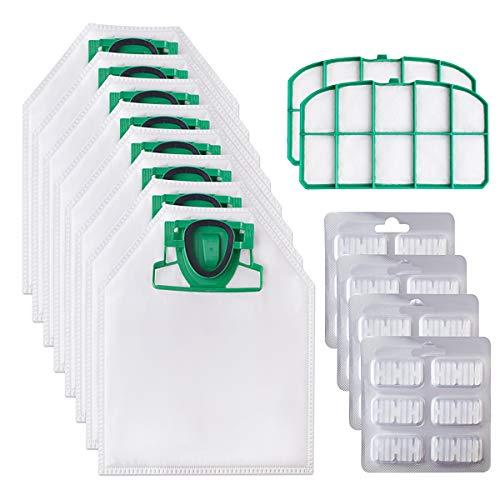 Awinker 10 Sacchetti per Folletto VK200 VK220 VK220S Compreso 10 Sacchetti + 24 Profumini + 2 Filtri (16 Pezzi per VK 200)