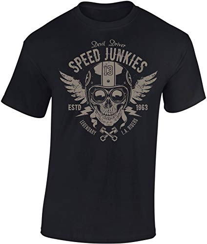 Camiseta: Speed Junkies Racer Skull - Regalo Motero-s - T-Shirt Biker Hombre-s y Mujer-es - Motocicleta - Bike - Chopper - Moto - Anarchy - Motociclismo - Club - Calavera - USA (L)
