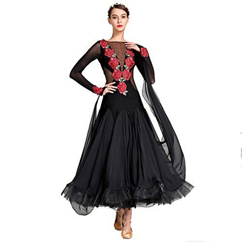 MYF Vestido Adulto de la Danza Moderna, Ropa del Funcionamiento del Banquete del cóctel de Las señoras Disfraz de vals Carnaval Vestido de Noche (Color : Negro, Size : XXL)