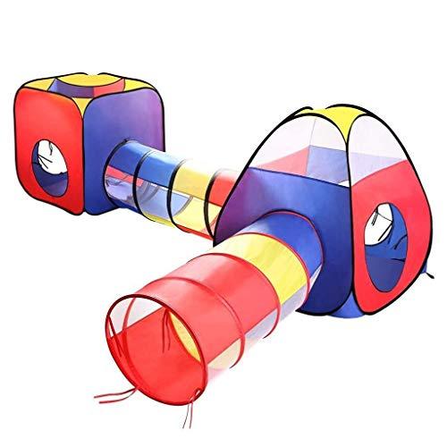 Wivilly 4 in 1 Kinderzelt Mit Kriechtunnel Kanal Kindern Bällebad Zelte Klappbare Indoor-Outdoor-Spielhaus Jungen Geburtstagsgeschenk Pop-Up