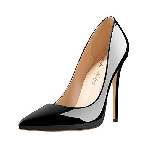 Only maker Damen Klassische High Heels Spitze Elegante Pumps Stiletto Damenschuhe Lack Schwarz 42 EU