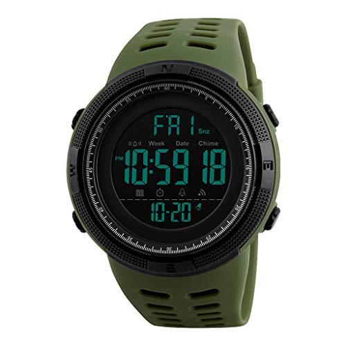 TISHITA Reloj Digital Deportivo al Aire Libre para Hombre Impermeable con cronómetro Alarma EL Calendario de retroiluminación Semana - Verde