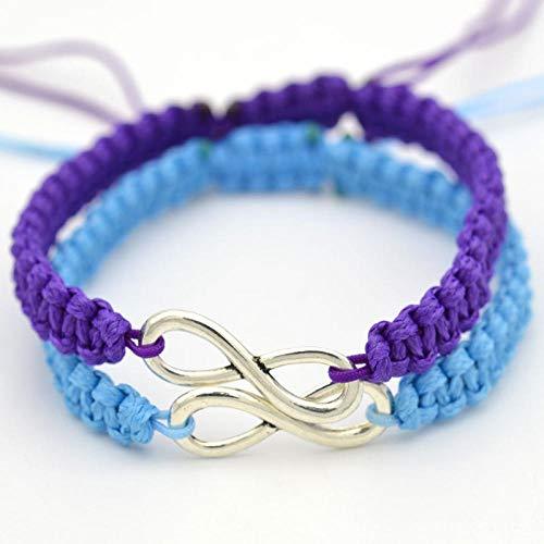 LLXXYY gevlochten armband, vintage gevlochten touw handgemaakte armband/Infinity trendy ketting verstelbaar blauw paars armband/voor vrouwen meisjes mannen vakantie charme sieraden cadeau