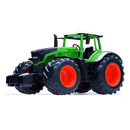 JenLn Coches de Juguete para niños RC Coche camión Tractor agrícola 2.4G Remolque volcado Rake 4 Ingeniero de Ruedas Juguetes de vehículo for Niños Niños Regalo (Color : Green, Size : One Size)