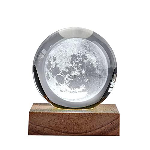 bolas de energía Moderna Minimalista Cristal Ball Office Desktop Pequeños Adornos Transparente Luna Creativa Noche Luz Decoración para el hogar bola de fotografía de vidrio ( Size : 3.15IN )