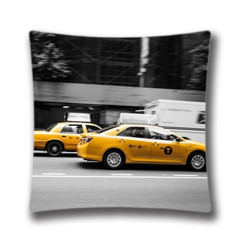 AM Kingdom Cotton & Polyester Throw New York Taxi Cushion Cover Pillowcase/Taies d'oreillers 18\
