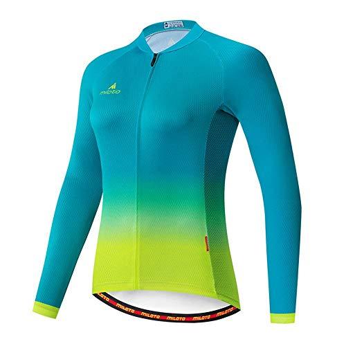 Damen Radtrikot Fahrradtrikot Langarm Top Mountainbike MTB Rennrad Radfahren atmungsaktiv schnell trocknend Sportbekleidung Bekleidung Gr. 52, Blau/Grün
