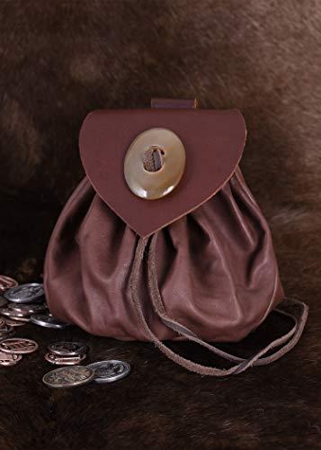 Geldbeutel mit Hornknopf, dunkelbraun Lederbeutel, groß Ledertasche – Wikinger – LARP – Mittelalter - 2