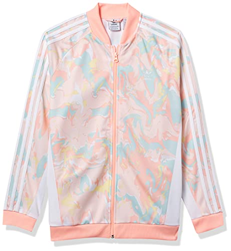 adidas Originals Girls' Big Pack Marble Print Superstar Top, Pink Tint/Multicolor/White, X-Large