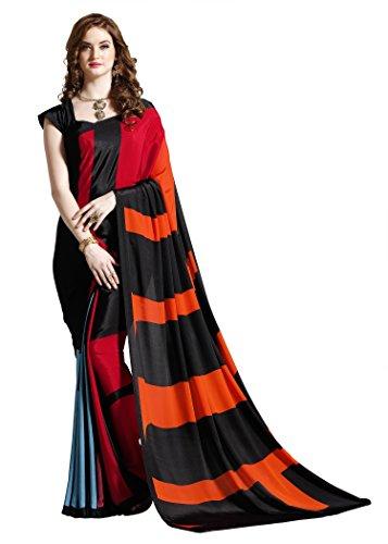 Jaanvi fashion Sari z nadrukiem krepy dla kobiet z nieszytą bluzką (czerwony)