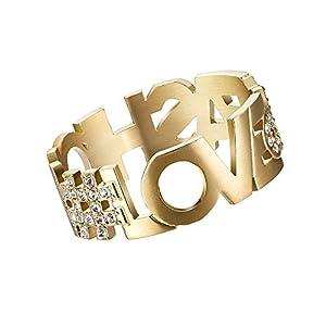 L'AMOTION #Love & Fashion   Message Ring   Edelstahl vergoldet - 5245651, 5245652, 5245686 (60)