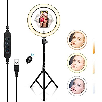 """10.2"""" Selfie Ring Light with 57.1"""" Extendable Tripod Stand & Flexible Phone Holder for YouTube Makeup Video, Mini Desktop Led Camera Ringlight with 3 Color Setting 3000K-6000K by SHUXIAODI"""