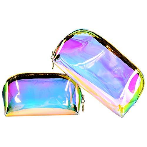 KBNIAN Kit de 2 PCS Trousse de Maquillage Holographique Pochette en Plastique Souple Vanity Transparent Multicolore Luxe Sac Cosmétique de Rangement Imperméable pour Femme Fille Voyage Été Plage