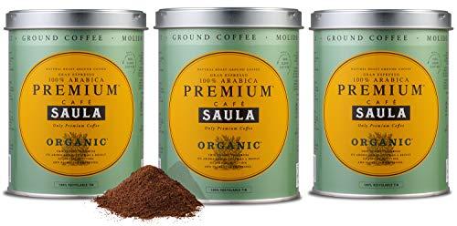 Premium Organic Ground Coffee - 100% Arabica Spanish Espresso Blend from Award Winning Caf? Saula (3X 250g)