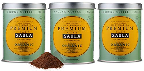 Saula Premium Gemahlener Kaffee Pack 3 Dosen mit 250 gr. Organic 100% Arabica