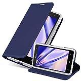 Cadorabo Hülle für Nokia Lumia 625 in Classy DUNKEL BLAU - Handyhülle mit Magnetverschluss, Standfunktion & Kartenfach - Hülle Cover Schutzhülle Etui Tasche Book Klapp Style