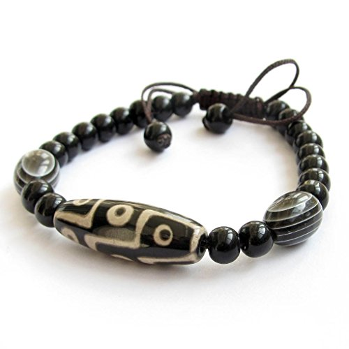 OVALBUY Tibetan Buddhist Dzi Beads Bracelet