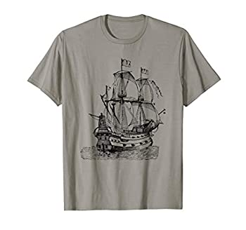 Cool Graphic Design Old Pirate Ship T-shirt