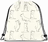 Drawstring Backpack String Bag 14X16 Scottie Pattern Sketches Four Cute Scottish Animals Wildlife Dog Beg Terrier Aberdeen Affectionate Beautiful Sport Gym Sackpack Hiking Yoga Travel Beach