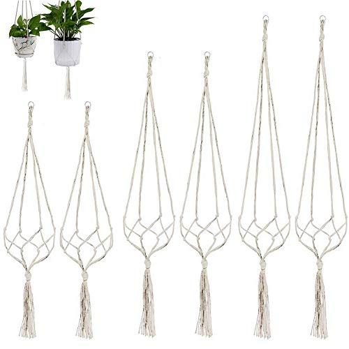 CYH 6 Piezas Macetero Colgante de Macramé para Interior y Exterior - Macramé Perchas de Plantas - Colgador para Plantas - para Plantas Colgantes Jardín Decoraciones de Balcon Pared