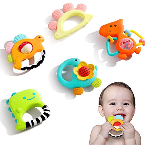 iPlay, iLearn Baby Rattle Set, Soothing Teether, Infant Dinosaur Rattle Toys, Hand Grab and Spin Shaker, Teething Sensory Toy, Newborn Shower Gifts for 3 6 9 12 Month Toddlers Boys Girls