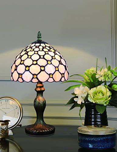 Lámpara de mesa de noche, lámpara de sobremesa, lámpara de sobremesa, lámpara de sobremesa, serie Pearl, blanca, vitral, blanco
