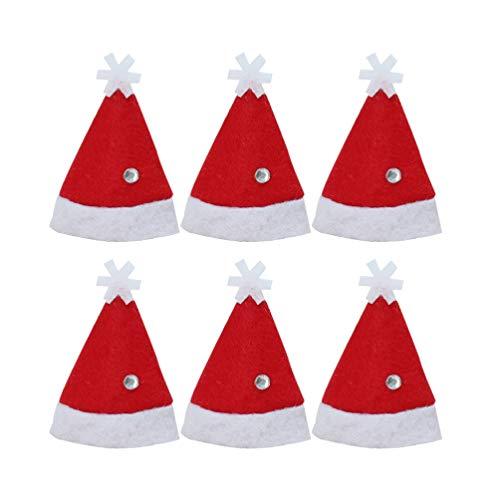 Amosfun Mini Weihnachtsmannmütze Lollipop Lutscher Hut Deko Lollypop Weihnachtsmann Hüte Finger Cap Weinflache Hut Weihnachten Party Deko 6 Stück (Rot)
