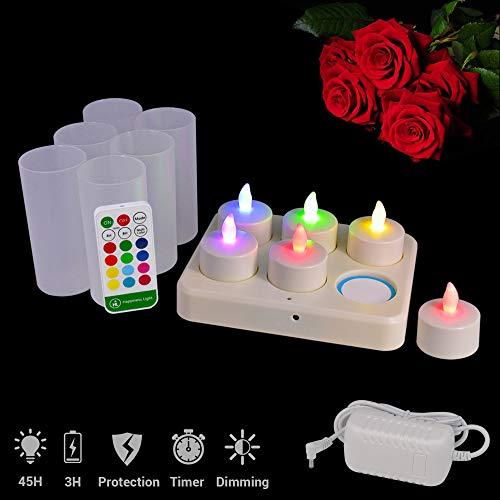 HL Flammenlose Kerzen Wireless 3A Wiederaufladbare Teelichter 3 Stunden Aufladen für 45 Stunden Dauerhafter Farbwechsel Flackernde Kerze LED-Licht Mit Fernbedienung Tischlampen (RGB, 6er Pack)