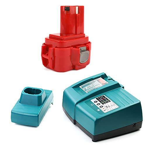 CELLONIC® Batería 9.6V, 3Ah, NiMH + Cargador Compatible con Makita 6203D / 6204D / 6207D / 6222D / 6226D - 9100, 9120 bateria de Repuesto, Pila reemplazo Herramienta, sustitución