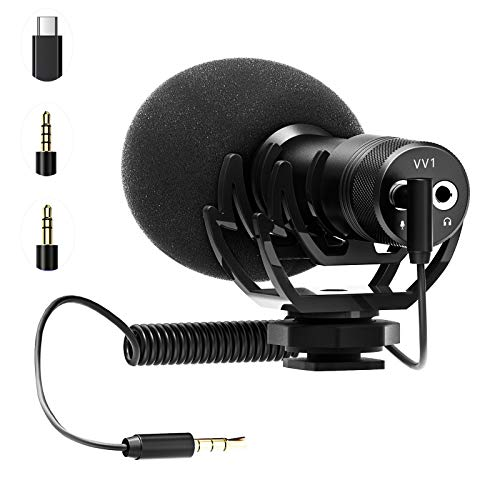 Universal Video Microphone Compact On-Camera Microphone with Shock Mount Shotgun Mic Compatible for iPhone, Android Smartphones, Canon EOS, Nikon DSLR Cameras and Camcorders (Type-C)