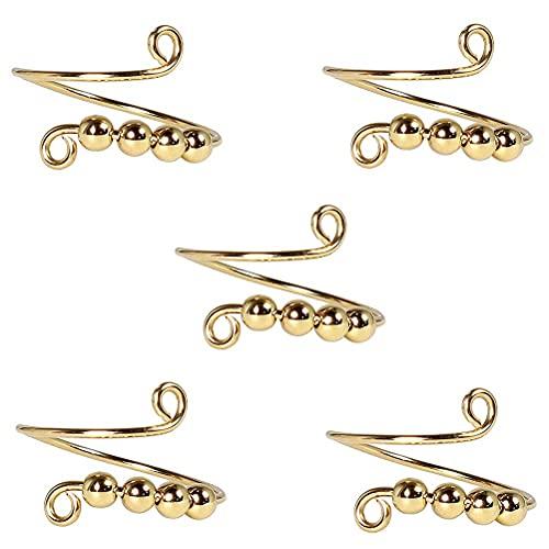 VIVILIAN Anillo de dedo ajustable vintage con perlas en espiral de bobina única, anillo giratorio de descompresión, anillo de punto libre para mujeres y hombres