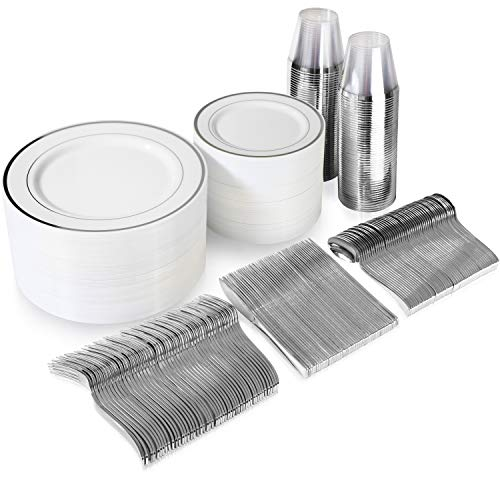 600 Piece Silver Dinnerware Set – 200 White and Silver Plastic Plates – Set of 300 Silver Plastic Silverware – 100 Silver Plastic Cups – Silver Dinnerware Set for Party or Wedding up to 100 Guests