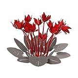 arti & mestieri ciclamino - centro tavola decorativo di design 100% made in italy - in ferro, 38 x 24 cm - ardesia rosso