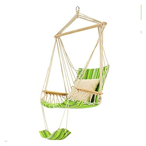 WERTYG Deluxe Hammock Chair Swing, Cotton Canvas And Wood Material, For Indoor Outdoor Hanging Hammock Swings,Maximum Load Capacity Is 150Kg