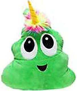 Green Poo-Nicorn Emoji Pillow, The Poo Emoji with a Unicorn Horn and Rainbow Hair