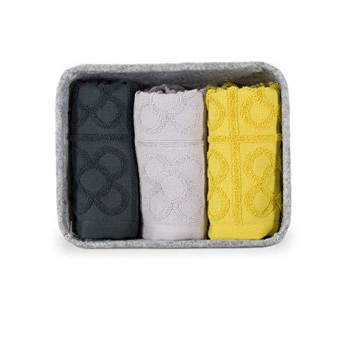 COTTONREUS Set de 3 paños de cocina Flor de Barcelona de 50 x 50 cm, 100% algodón de 500 gramos y rizo en relieve. presentados en un cesto de fieltro de 26 x 20 cm y profundidad de 11 cm.