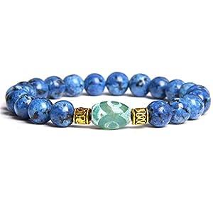 Paar Armband Schmuck Naturstein Perlen Charm Armband Tibetan Dzi Achate Perlen Charm Armband Für Frauen Männer Geschenke 19Cm