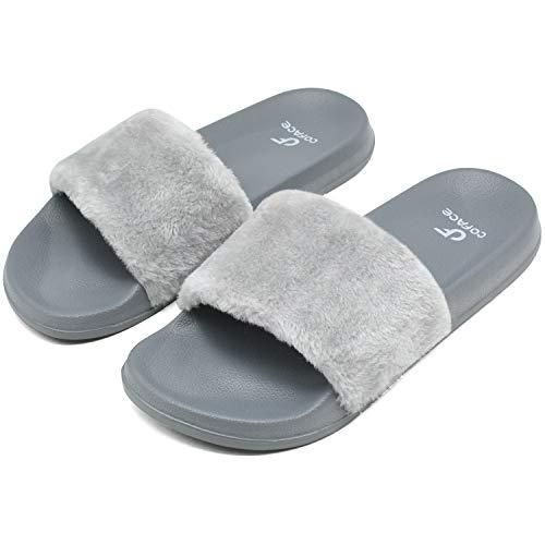 COFACE Damen Hausschuh Weiche Flache Sandalen Flauschige mit Süßer Plüsch Pantoffel Outdoor/Indoor in 5 Farben, Grau, 40 EU