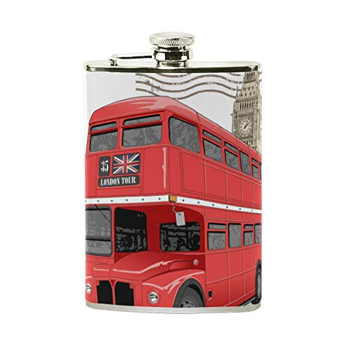 TIZORAX Vintage London Red Bus RVS Hip Flask, Pocket Flagon,Camping Wijnpot, Gift voor Mannen of Vrouwen, 8 Oz
