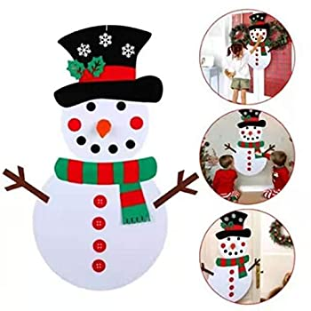 RISETEX DIY Felt Christmas Snowman Set,3.3ft Large Kids Felt Snowman Game Set Felt Christmas Ornament Kits for Toddlers and Kids,Crafts kit Door Wall Hanging Xmas Gifts for Christmas Decorations