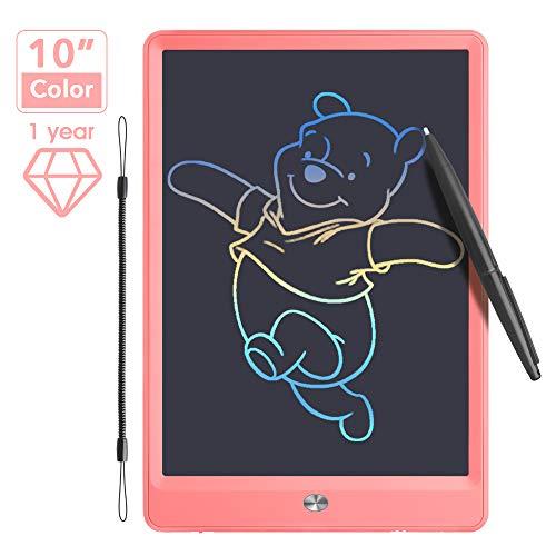 Jefshon Tableta de Escritura LCD 10 Pulgadas, Reutilizable Tablero de Dibujo Pizarra Digital Color con Bloqueo de Pantalla, Tablero de Grafiti para niños Juguete Pinturas y Educativo (10  , Pink)
