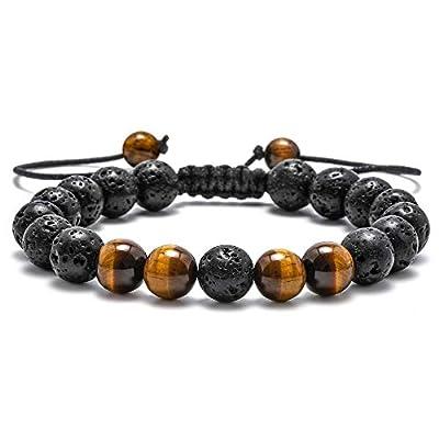 M MOOHAM Natural Bead Bracelet, 8mm Gem Semi Precious Gemstone Round Bead Black Lava Rock and Tiger Eye Beads Bracelet, Men Women Stress Relief Yoga Beads Adjustable Bracelet Energy Stone Bracelet