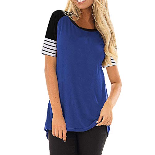 Reokoou Women Round Neck Color Block Short Sleeve Loose Fit T-Shirt Tops Summer Casual Blouse
