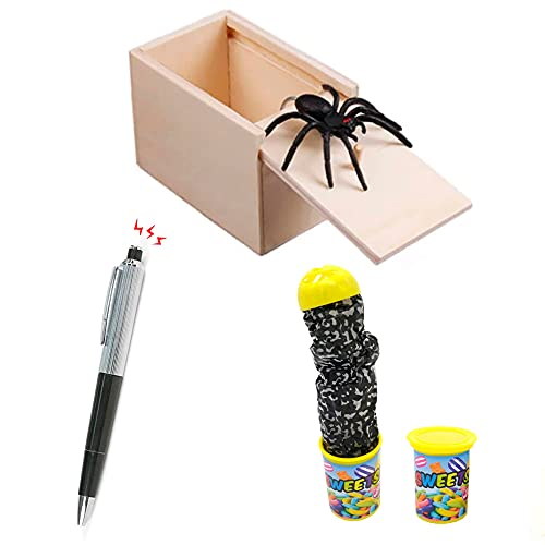 Desconocido Set 3 Bromas | Caja Madera Sorpresa araña | Bolígrafo eléctrico...