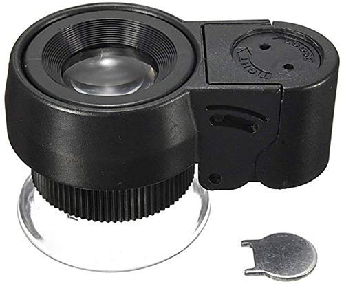 Handig en praktisch draagbare vergrootglas met LED-verlichting vergrootglas Portable Microscoop met Holster, Zwart 45x Magnifier WKY